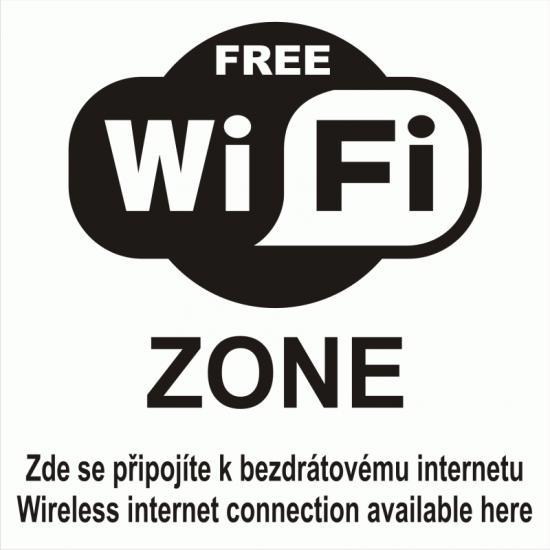 Samolepicí fólie WIFI ZONE FREE s textem