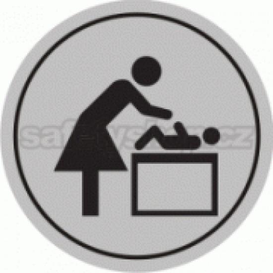Piktogram samolepicí fólie - Matky s dětmi  - stříbrná materiál