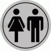 Piktogram samolepicí fólie - WC muží + ženy - stříbrná materiál