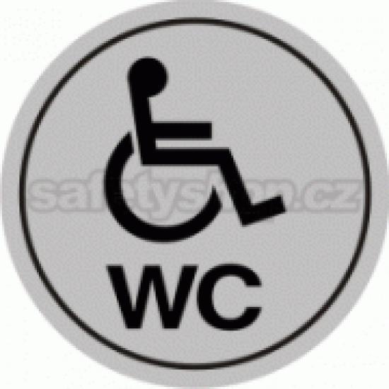 Piktogram samolepicí fólie - WC vozíky - stříbrná materiál