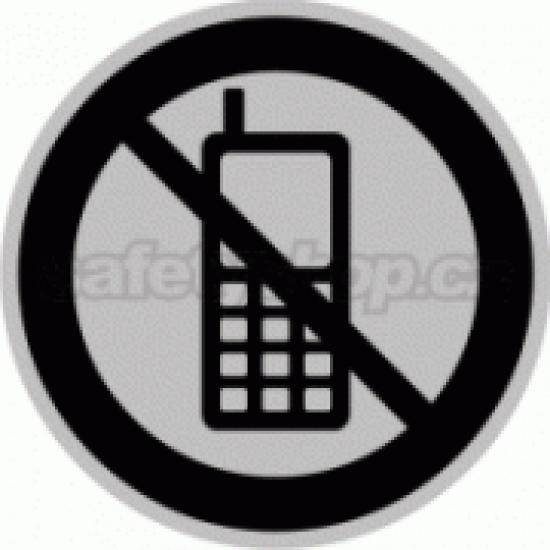 Piktogram samolepicí fólie - Zákaz mobil - stříbrná materiál
