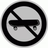 Piktogram samolepicí fólie - Zákaz skateboard - stříbrná materiál