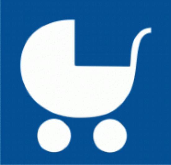 Samolepicí fólie - Symbol zařízení nebo prostoru pro osoby doprovázející dítě v kočárku