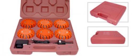 Signální set 6 červených dobíjecích blikačů na baterie