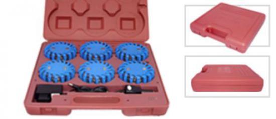 Signální set 6 modrých dobíjecích blikačů na baterie