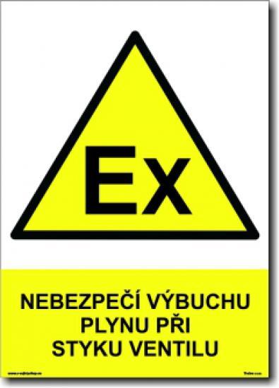 Nebezpečí výbuchu plynu při styku ventilu - Samolepka