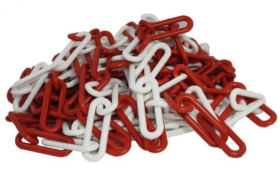 Plastový řetěz červeno/bílý 25m, pr.článku 8mm