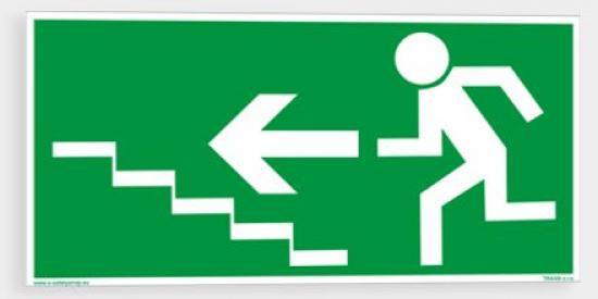 Únikové schodiště (vlevo nahoru) - Plast/Samolepka