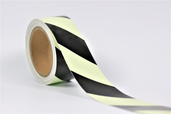 Fotoluminiscenční šrafovaná páska - černo/bílá 10mx50mm