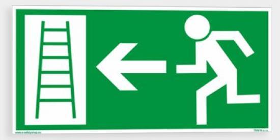 Únikový žebřík (směr vlevo) - Plast/Samolepka