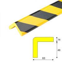 Varovný profil žluto-černý 6,3 x 6,3 cm - Samolep.