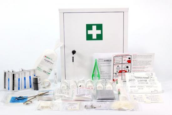 Lékárnička plechová s výbavou pro kovovýrobu