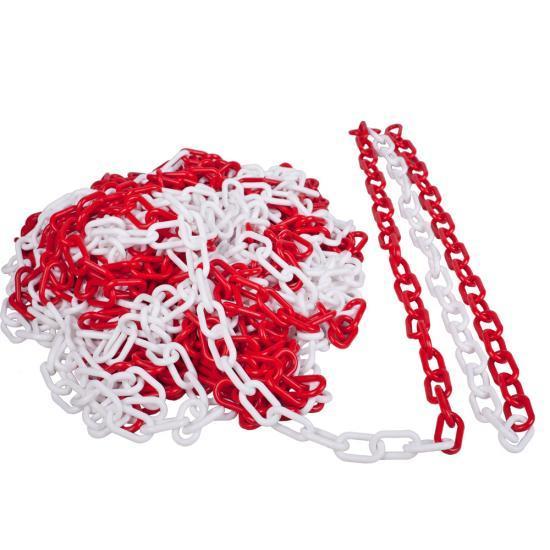 Plastový řetěz červeno/bílý 10m, průměr článku 6mm