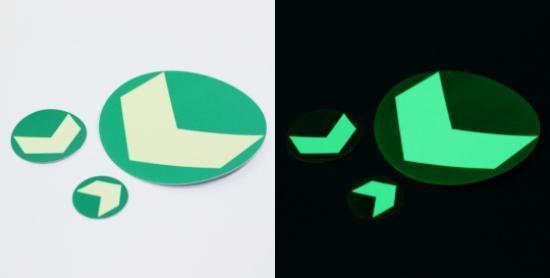 Fotoluminiscenční kolečko hliníkové se šipkou 90mm