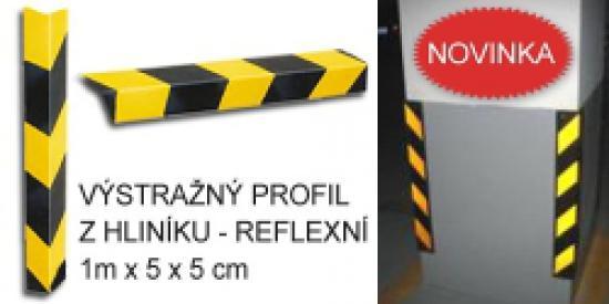 Výstražný profil na rohy - žluto-černý reflexní