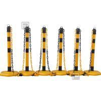 Plastový stojan žluto/černý 1m s černými pruhy - sada 4ks s řetězem 3m