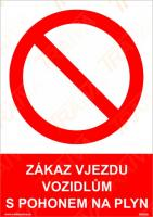 Zákaz vjezdu vozidel s pohonem na plyn - Samolepka