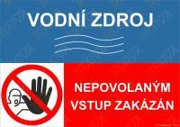Vodní zdroj, nepovolaným vstup zakázán - Samolepka