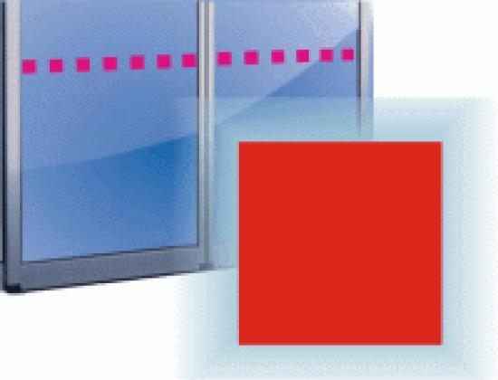Označení prosklených ploch - čtverec 5 cm -Různé barvy