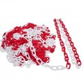 Plastový řetěz, červeno bílý 50m na cívce, průměr článku 6mm