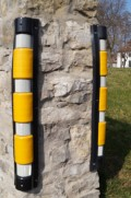 Ochranný roh z měkčeného PVC reflexní pruhy kulatý
