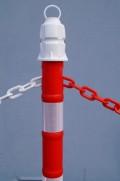 Zahrazovací plastové sloupky červeno/bílé 1m  sada těžká základna